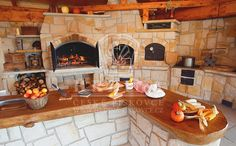 outdoor kitchen on a czech farm - czech sandstone Backyard Kitchen, Outdoor Kitchen Design, Rustic Kitchen, Backyard Patio, Kitchen Decor, Backyard Smokers, Backyard Pavilion, Outdoor Buildings, Architectural House Plans