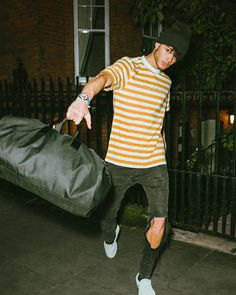 """@brandonamato on Instagram: """"Runnin' through the streets of London with my new watch from @GUESSwatches 👊🏽"""" Short Sleeve Tee, Short Sleeves, Guess Clothing, London Street, Striped Tee, Sexy Dresses, Lifestyle, The Originals, Denim"""