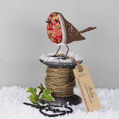 Fabric Bird Sculpture - Robin - Made to Order. So cute. From my Christmas Garden board. Miranda the Devon coast gardener x
