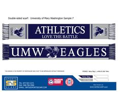 Custom University of Mary Washington Eagles scarf!  Our custom scarves are perfect for fundraisers for high schools and colleges!