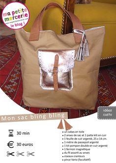 Sewing Diy Bag Pockets 54 Ideas For 2019 Sacs Tote Bags, Fabric Tote Bags, Bling Bling, Tote Bag With Pockets, Diy Sac, Animal Bag, Diy Handbag, Sewing Leather, Couture Sewing