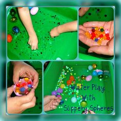 Super easy to make Easter sensory bin idea for kids. Using waterbeads, plastic Easter eggs, and water. Rainy Day Activities, Toddler Learning Activities, Sensory Activities, Infant Activities, Outdoor Activities, Sensory Bins, Sensory Table, Preschool Special Education, Happy Kids