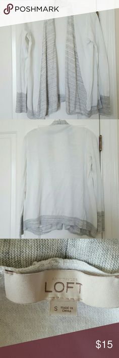LOFT White and Gray Marled Open Cardigan 100% cotton light open cardigan. White with gray space dye/marled color block detail. Perfect casual sweater to throw on or layer. Love this but it doesn't get too hot where I live so I don't have much of a chance to wear it! LOFT Sweaters Cardigans