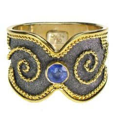 Damaskos Sapphire Black Gold Vamp Band Ring. 18k Gold and a Sapphire. Greek jewelry at www.athenas-treasures.com