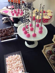 Black white and fuchsia theme candy bar Birthday Candy, Confetti, Buffet, Black White, Bar, Desserts, Food, Meal, Buffets
