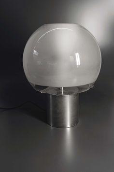 Luigi Caccia Dominioni; Glass and Chromed Metal Table Lamp for Azucena, 1966.