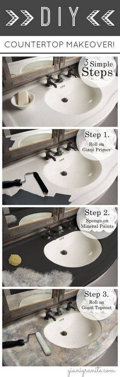 DIY Paint Kits for Your Home DIY Painted Countertops. Get the high-end look of natural stone for und Countertop Paint Kit, Countertop Makeover, Painting Countertops, Diy Countertops, Home Renovation, Home Remodeling, Bathroom Remodeling, Papel Contact, Ideas Baños