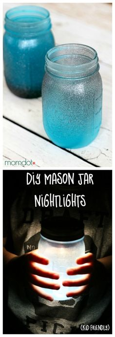 Mason Jar Night light DIY How to seaglass your mason jar and then turn it into a night light (nope not a candle OR paint!) that glows all night long - totally awesome you are going to want to make TONS of these for a mason jar wedding childs room or Wedding Centerpieces Mason Jars, Mason Jar Lanterns, Mason Jar Lighting, Diy Mason Jar Lights, Candle Jars, Candle Lighting, Glass Jars, Diy Design, Design Ideas