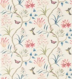 Clementine (213387) - Sanderson Wallpapers - An elegant hand painted effect tropical trail, including hummingbirds, butterflies and exotic flora. Shown here in damson, blue and white. Other colourways are available. Please request a sample for a true colour match. Wide width pattern. Paste-the-wall product.