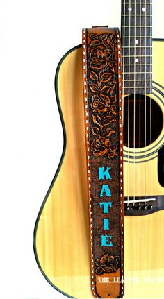 Personalized Western Roses Guitar Strap by The Leather Smithy #HandTooledLeather #Roses #GiftforHer #Guitar