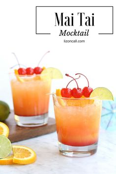 Escape the stresses of life without leaving your home by mixing up this nonalcoholic Mai Tai mocktail. It makes such a fun and easy party punch too.
