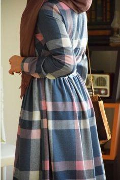 Ekose Pudra Elbise - Eminos Butik