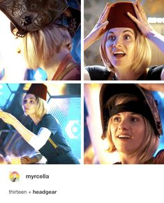 Thirteen + Headgear #DoctorWho #JodieWhittaker Rose And The Doctor, Doctor Who Funny, 13th Doctor, Don't Blink, Dalek, Torchwood, My Escape, How To Run Faster, Fall Out Boy