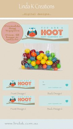 """Valentine's Day bag toppers for that special person in your life this Valentines Day!  """"You Are a HOOT!"""" Valentines Day Bag Toppers"""" are the perfect Valentine's gift for your children's class mates, teachers or that special someone this Valentines Day!"""