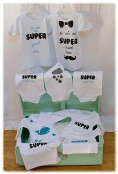 """DIY customisation de vêtements bébé avec du flex à paillettes pour un cadeau de naissance personnalisé ! Bodys """"je suis un super petit frère"""" pour le bébé et tee-shirts """"je suis un super grand frère"""" pour l'aîné !"""
