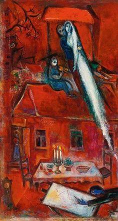 """Marc Chagall. """"Crépuscule ou la maison rouge"""" 1948"""