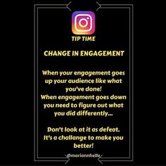 Tip time: Pay close attention to change in engagement on your posts.   If engagement goes down go back and review what happened.   - Did you change the hashtags... - A different kind of image...  - Did you not deliver what your audience expected... It's not a sign of failure! It's a challange to keep you on your toes and make sure you're getting better!   Want to learn more about building your business online? JOIN the FREE Networking Success Tips FB-community!  @mariannhelle  - LINK IN BIO…