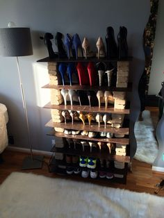 Made by Tamara Carson! DIY shoe rack made out of bricks and slabs of wood that I stained with mahogany and a glossy polyurethane finish Shoe Display, Display Ideas, Diy Shoe Rack, Wood Slab, Wine Rack, Cabinet, Storage, Bricks, Furniture
