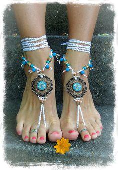 Flower Mandala WEDDING BAREFOOT Sandals Toe Anklet wrap by GPyoga