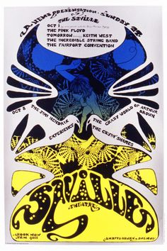 """psychedelic-sixties: """"The Jimi Hendrix Experience, Pink Floyd, Crazy World of Arthur Brown, Fairport Concention & Incredible String Band, October 1 & 1967 - Saville Theater in London Art By. Peter Blake, Jasper Johns, Robert Rauschenberg, Roy Lichtenstein, David Hockney, Rock Posters, Concert Posters, Music Posters, Event Posters"""