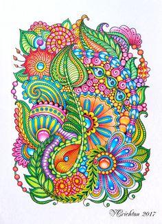 Zentangle art, gems zentangle, zentangle art, colorful, graphic, zentangle coloring, zenart, artnet, zendoodles, handdrawing, abstractgraphick, doodle flowers, zentangling, Drawing Illustration, liner_Viktoriya Crichton_Ukraine