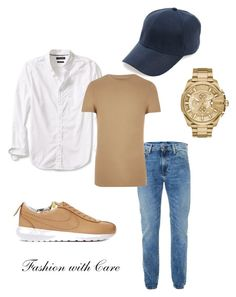 """""""A fan of tan"""" by fashionwithcare on Polyvore featuring Topman, NIKE, Banana Republic, River Island, men's fashion and menswear"""