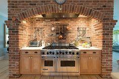Brick built - on chef surround cooker in chimney breast, brick hearth, stone kitchen Range Cooker Kitchen, Kitchen Hoods, Stone Kitchen, New Kitchen, Kitchen Decor, Spanish Kitchen, Rustic Kitchen Design, Country Kitchen, Kitchen Stove Design