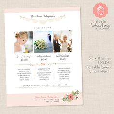 Photography Pricing List Price List Template by StudioStrawberry