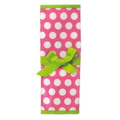 Reversible Travel Placemat with Chalkboard (Pink with White Polka Dots Green Trim) MSC