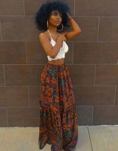 Blossom Maxi Boho Skirt - Summer Outfits for Work Black Girl Fashion, Boho Fashion, Fashion Outfits, Womens Fashion, Fashion Ideas, Fashion Quotes, Vintage Fashion, Black Girl Style, Style Fashion