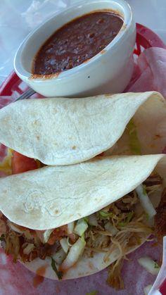 Taqueria del sol in Atlanta. Fried Chicken and Carnita tacos with a side of chili