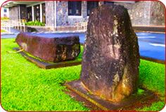 naha and pina'o stones in front of hilo county library. kamehameha lifted the Naha Stone when he was 16.It was prophecy that the warrior that could lift the stone would unite the Islands.Rarely is this mentioned and the stone goes un-noticed. This seems very odd to me!..