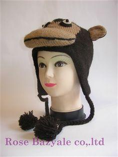 Woolen Animal Hand Made Knit Hat Monkey!
