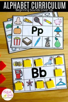 The Alphabet Curriculum is a complete program that goes from letter recognition and formation to letter sounds to simple CVC words. It is packed with hands-on activities to keep young minds engaged as they learn, practice and master the alphabet. Preschool Literacy, Preschool Letters, Phonics Activities, Early Literacy, Kindergarten Classroom, Kindergarten Activities, Preschool Activities, Letter Sound Activities, Rhyming Games