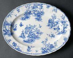 Blue toile scalloped by Churchill & Queens China Dinnerware Chelsea Toile Transfer-ware Blue (Churchill ...