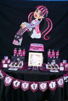 Monster High Birthday Party dessert table!  See more party planning ideas at CatchMyParty.com!
