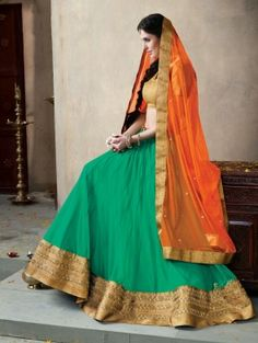 Sea Green Net Lehenga Choli with Embroidery Work