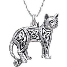 Jewelry Trends Sterling Silver Celtic Cat Necklace