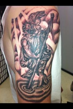 35aca6410627e St. Christopher tattoo done by Zach Brunner Angle Tattoo, Tatoo, St Michael  Tattoo