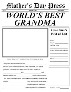 Mother's Day Newspaper for Grandma free printable