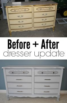 Before + After dresser update.  Update those old pieces of furniture!