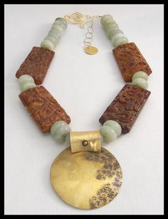 ORIENT - Handcarved Jade - Jade Rondelles - Handforged Bronze Pendant - 1 of a Kind Necklace by sandrawebsterjewelry on Etsy