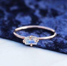 eden 9ct rose gold emerald cut moonstone boho ring by amelia may | notonthehighstreet.com