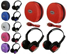 2 Pack Kid Sized Wireless Infrared Universal Car DVD IR Automotive Colored Adjustable 2 Channel Headphones With Case and 35mm Auxiliary Cord -- Want additional info? Click on the image. Note: It's an affiliate link to Amazon