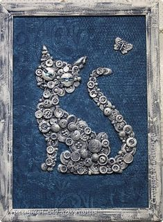 Looks like she glued down the buttons, gesso'd, then painted to make it look like metal.very cool and unique result! Button Art On Canvas, Diy Canvas, Canvas Art, Altered Canvas, Altered Art, Old Jewelry, Jewelry Art, Jewelry Crafts, Aluminum Foil Art