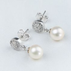 White Pearl Natural Freshwater Cultured 6.5-7mm Perfect Round Pearl Earrings AAA Pearl Jewelry With 925 Silver Fittings. Starting at $1