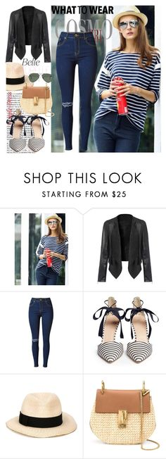 """SimpleDress#25"" by mila96h ❤ liked on Polyvore featuring J.Crew, Eugenia Kim, Chloé, Ray-Ban and simpledress"