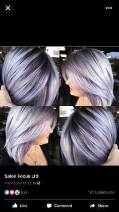Silver lavender hair color and smooth bob with shadow base by Brittnie Garcia WTF to do with my hair? Silver Lavender Hair, Lavender Hair Colors, Silver Purple Hair, Lavender Ideas, Hair Color Silver Grey, Grey Hair With Purple Highlights, Lavender Hair Highlights, Short Silver Hair, Hair Colours