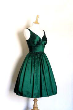 Emerald Green Taffeta Prom Dress Size UK 6 18 by digforvictory