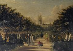 """Oil painting from the Fine Art collection. """"St Peter's Church and Gardens"""" by George Ruff, showing a view of St Peters Church from an avenue of trees. Several people walk along the path. Brighton Rock, Brighton And Hove, Royal Pavilion, St Peter's Church, Store Image, Local History, Seaside, Paths, Rocks"""